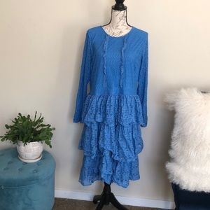 Eloquii size 16 long sleeve blue lace dress